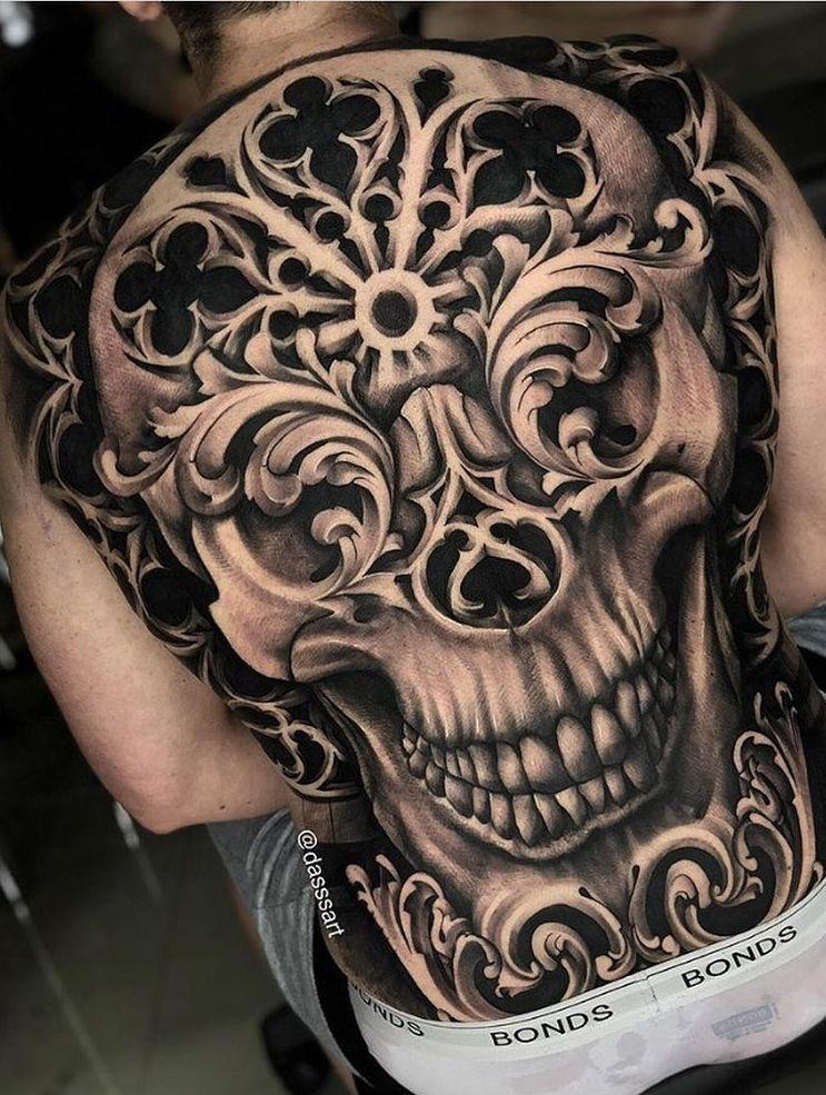tatuagem nas costas masculina - Caveira
