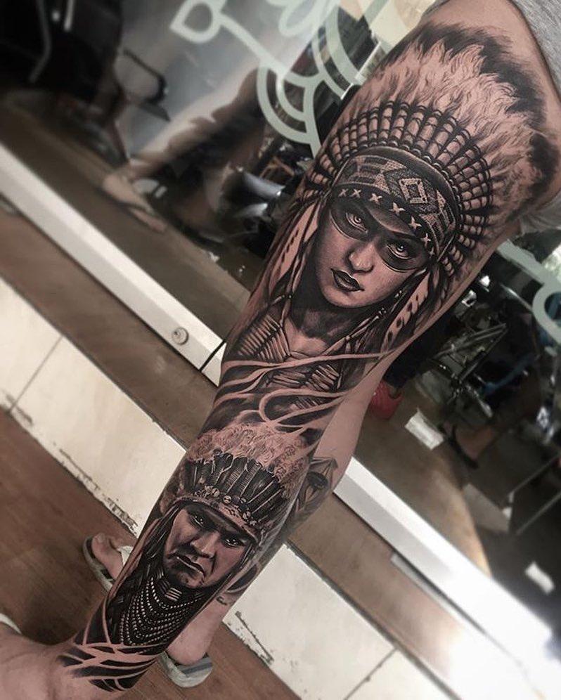 tatuagem masculina, desenho de tatuagem na perna inteira
